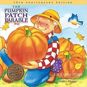 Image of a farmer holding a big orange pumpkin on the book cover of The Pumpkin Patch Parable