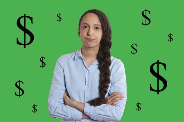 Image of woman looking annoyed or guilty with dollar signs around her.