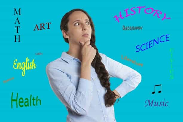 Image of homeschool mom who is thinking with words of subjects surrounding her.