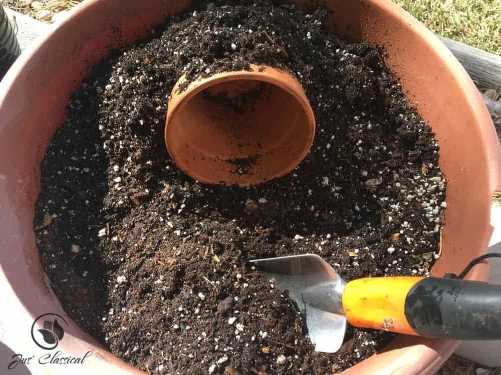 Resurrection garden - clay pot on side 2