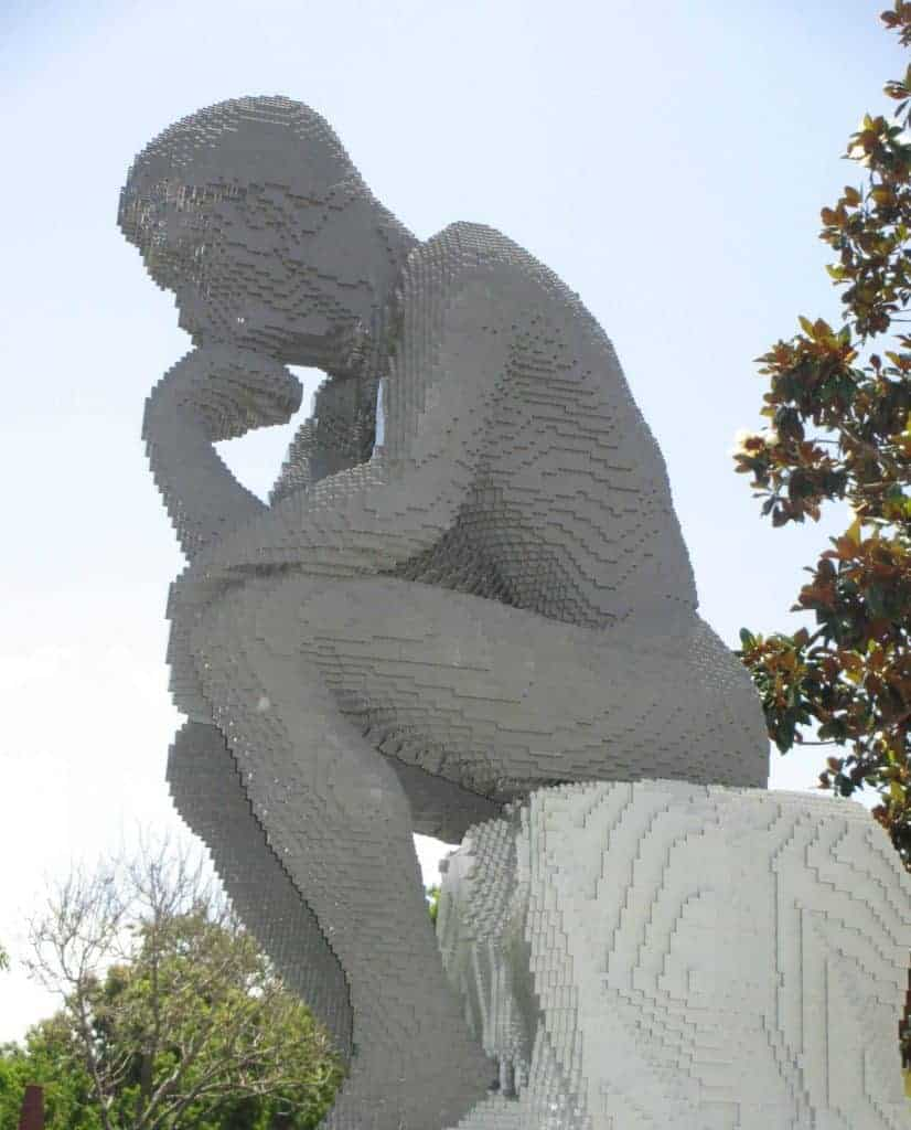 importance of memorization, thinker statue made of Lego
