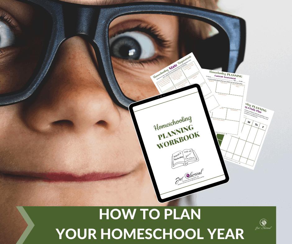 Boy in glasses looking at Homeschool Planner Workbook