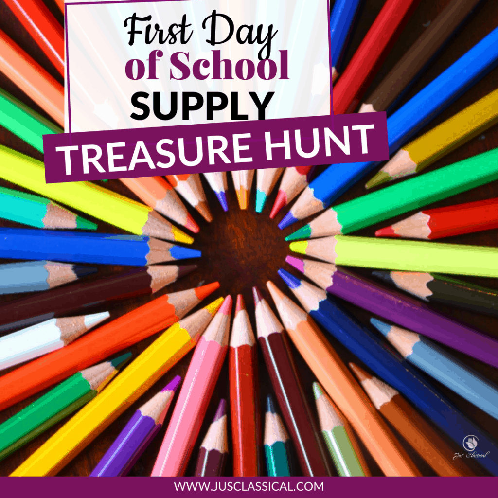 colored pencils in a circle enticing viewer to try a first day of school supply treasure hunt
