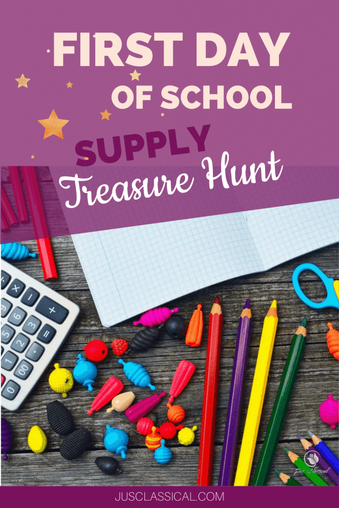 First Day of School Supply Treasure or Scavenger Hunt - picture of supplies