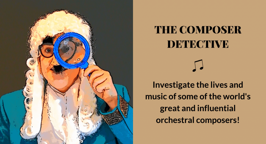 George Frideric Handel with magnifying glass advertising The Composer Detective