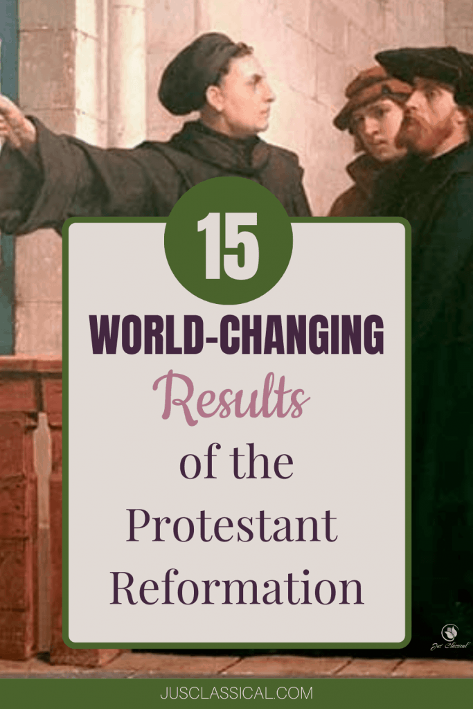 Image of Martin Luther nailing 95 Theses on door while 2 students watch with title 15 World-Changing Results of the Protestant Reformation