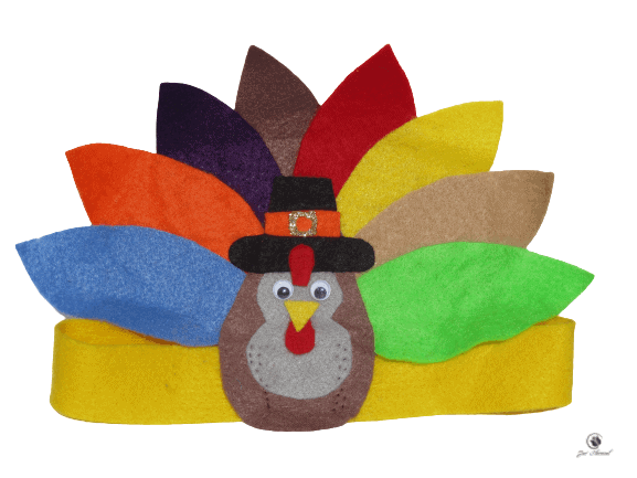 Image of turkey headband made from felt for  easy Thanksgiving crafts