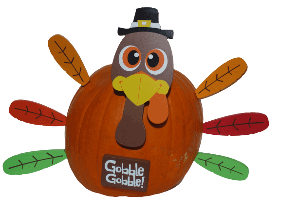image of pumpkin decorated like a turkey for Thanksgiving crafts