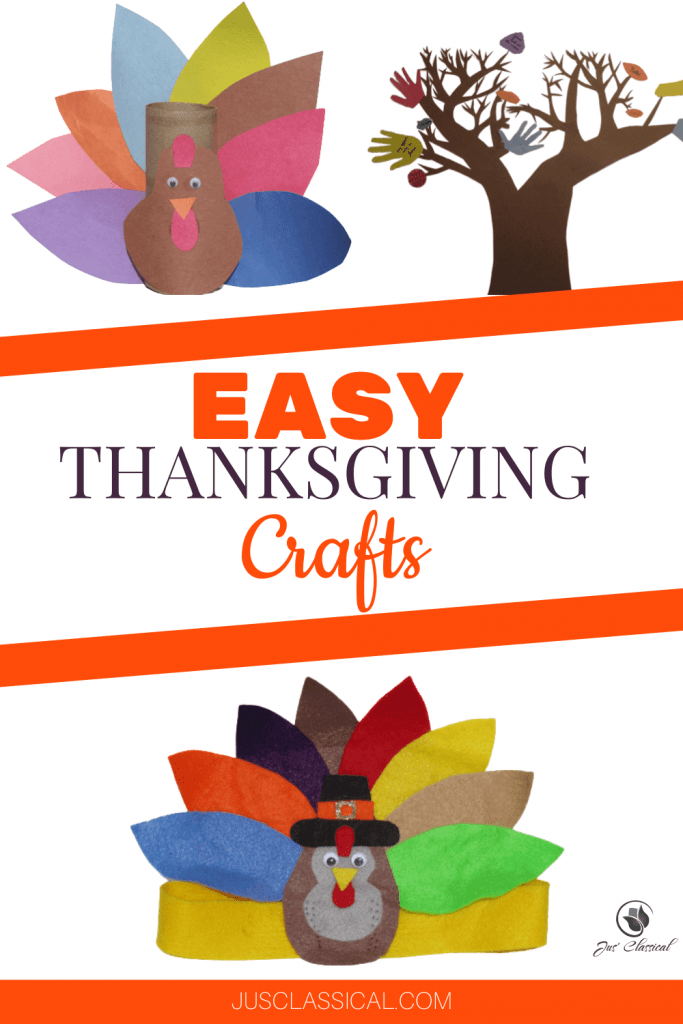 Image of a few Thanksgiving crafts of turkeys and a Thanksgiving tree with title Easy Thanksgiving Crafts