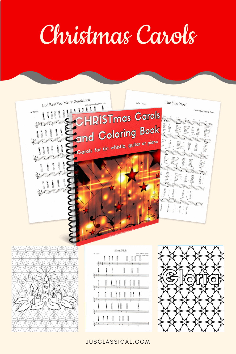 Image of cover with spiral binding and page previews of Christmas Carols and Coloring Book.