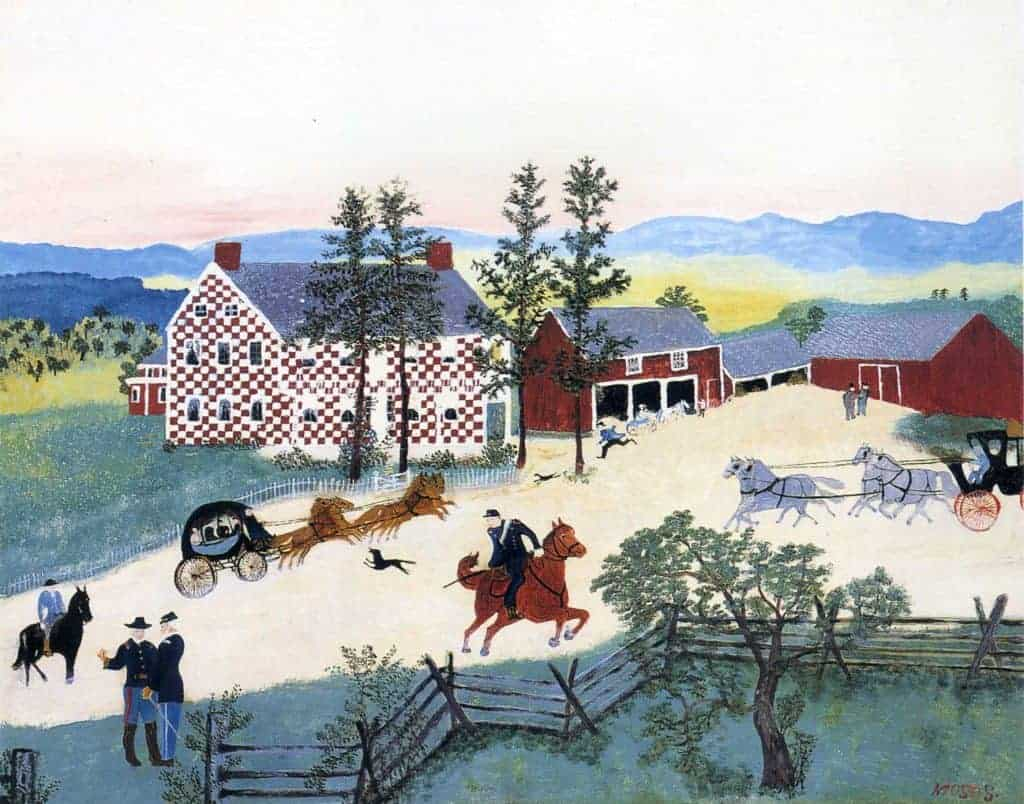 Painting of a wide yard in which a black horse is trotting in from the left near a strolling couple, a brown horse is trotting in the middle, and four brown horses lead a carriage in from the left while four white horses lead in a carriage from the right. In the back is a red and white checkered house next to red barns. This is a painting called Country Scene by Grandma Moses.