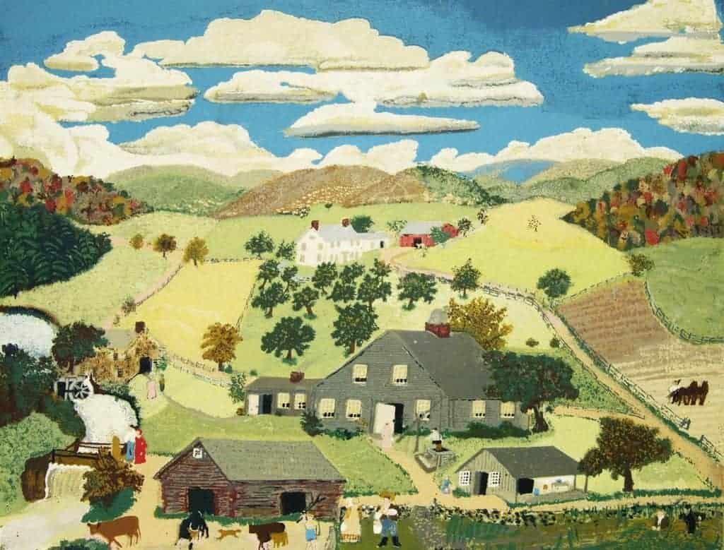 Painting of a large gray house in the center of the picture with barns on either side in the foreground. in the background are rolling hills, a blue sky and white puffy clouds. The painting is called Oaken Bucket by Grandma Moses.