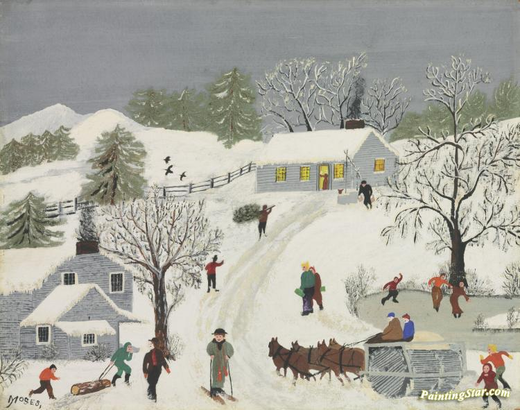 Painting of a snowy scene of a hillside with a house at the top and to the left side where a sledder is walking up to the hill from the left side, a skier passes by in the center as four brown horses pulling a large round rolling piece of machinery comes in from the right. On the right side is a small pond with three people ice skating. This painting is called Sledding by Grandma Moses.