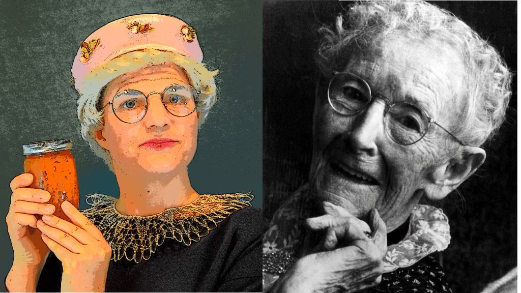 Color picture of a woman wearing round glasses dressed up like Grandma Moses holding a jar of jam next to a black and white photo of the Grandma Moses with round glasses.