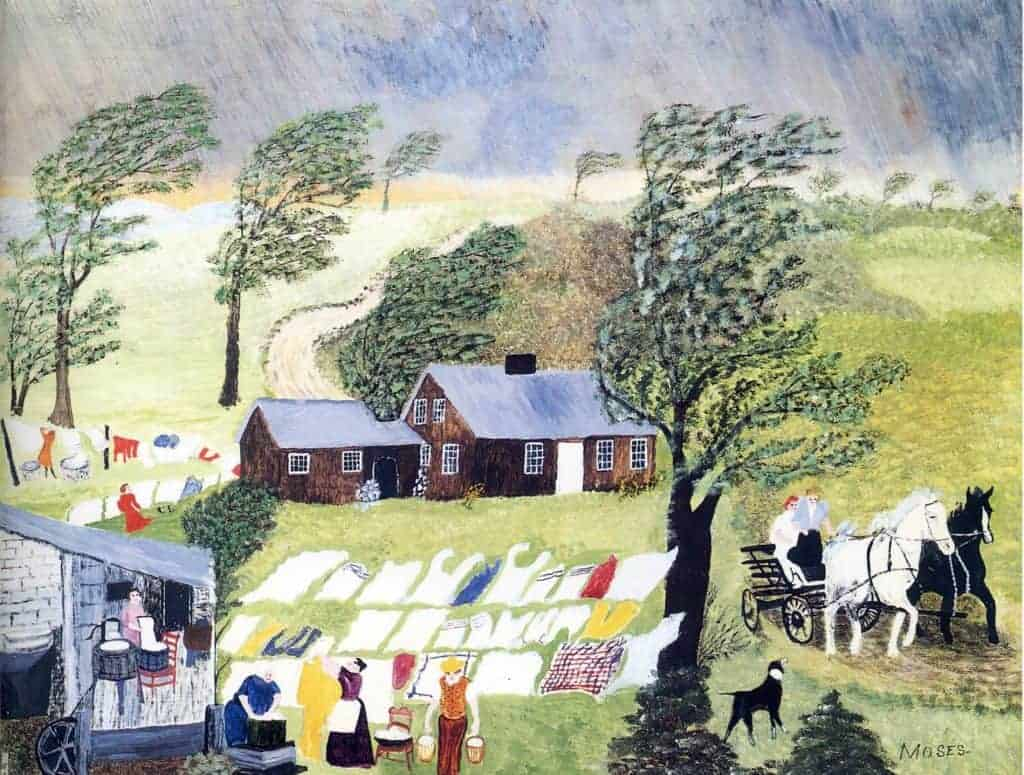 Painting of trees blowing and a house in the center with a small building and laundry hanging on a line in the foreground as well as horses and a carriage on the right side with a dog also looking on - a painting called Taking in the Laundry by Grandma Moses.