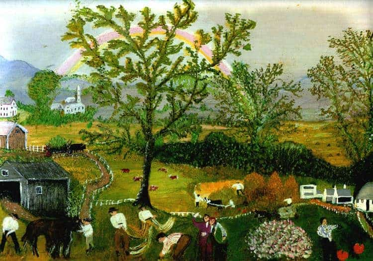 A painting of threshers in the foreground in front of a gray house and large tree in the center of the picture. A rainbow is visible behind the tree. The painting is called The Rainbow by Grandma Moses.