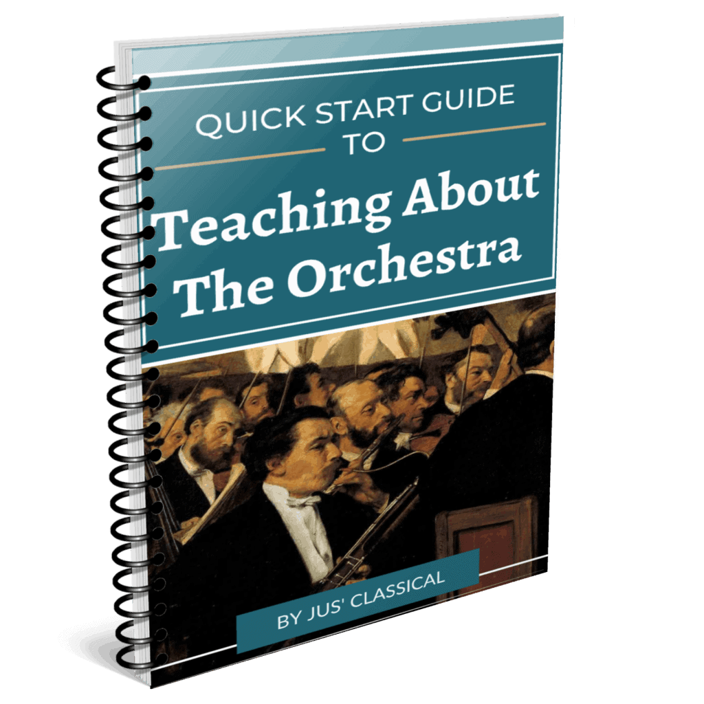 Image of spiral bound book with turquoise cover with picture of bassoonist and other instrumentalists of the orchestra from a painting by Edgar Degas and words in white Quick Start Guide to Teaching About the Orchestra.