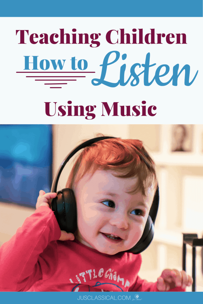 """Image of a toddler boy with brown hair and a red sweatwhirt wearing headphones and grabbing the right side of the headphone with his hand, smiling and looking to the left with the title above which says, """"Teaching Children How to Listen Using Music."""""""