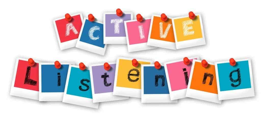 """Image of letters in colored blocks spelling out """"active listening."""""""