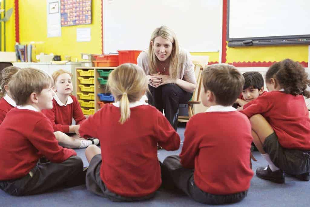 Image of children in red sweaters sitting in a circle facing a teacher who is a young woman with long blond hair.