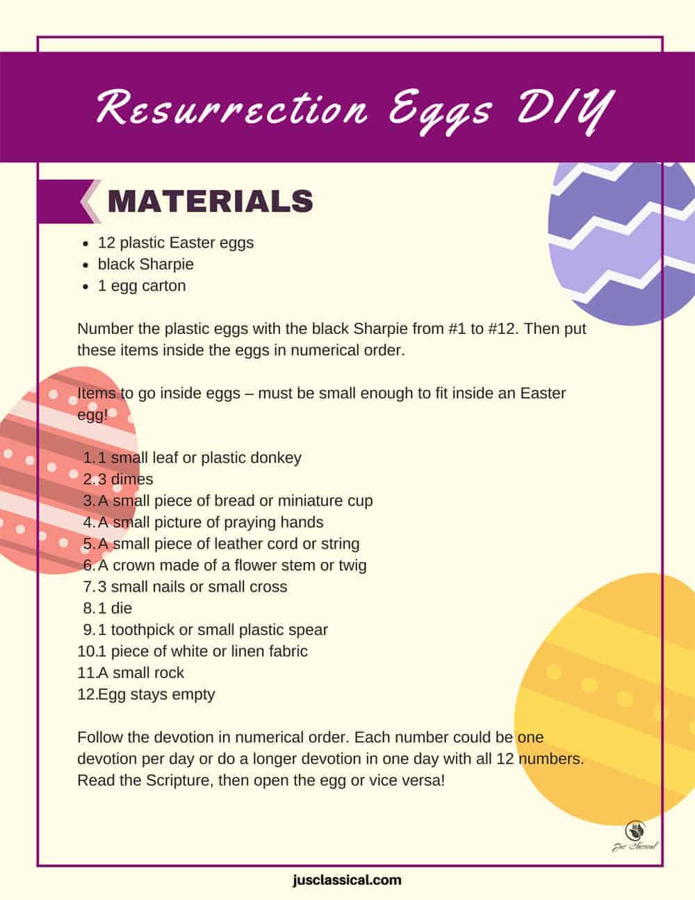 "Image of words on a page with purple rectangle across the top with the words in white, ""Resurrection Eggs DIY"". There are also a purple striped Easter egg and yellow striped Easter egg on the right side of the page and a pink striped Easter egg on the left side of the page."