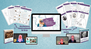Image of mockup of course on a blue background. In the center is an image of a computer and on the screen is a man in a long white wig from the Baroque era wearing a turquoise jacket, a disguise of glasses, a big nose and moustache, and holding up a blue magnifying glass to his eye. Next to him is a purple swash of color with the words The Composer Detective in white. On either side of the screen are images of worksheets and below these are spiral bound book and tablet screens with images of famous composers on them.