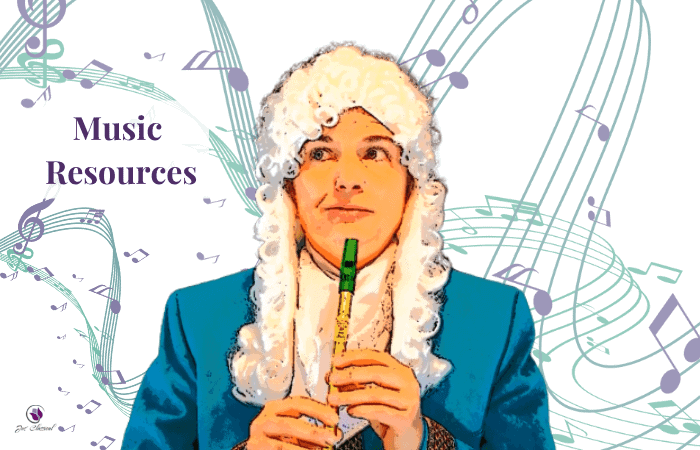 Image of man in white wig in turquoise jacket and holding a tin whistle. Behind are swirling purple and turquoise notes and the words Music Resources.
