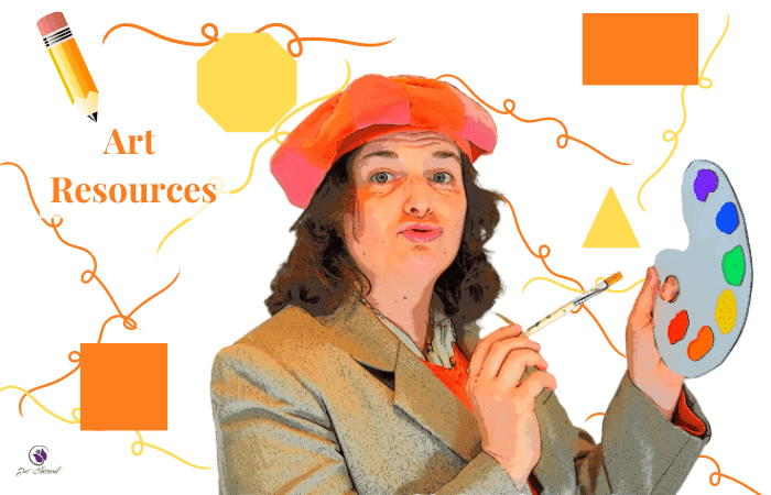 Image of man in orange beret and tan jacket holding paint palette. Behind him are orange and yellow shapes and squiggles and pencils and the words in orange Art Resources