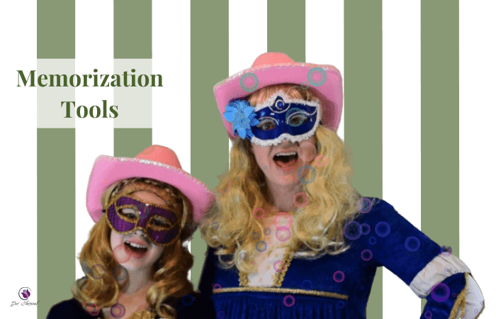 Image of girl and woman in pink cowboy hats with green and white stripes in background and the words Memorization Tools.